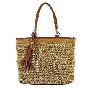 GIANI BERNINI Brown Straw Beach Shoulder Bag$119.0